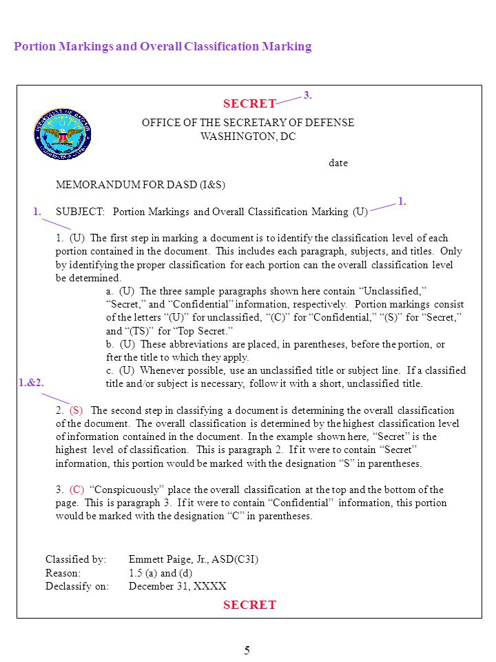 SECRET 4.(U) Mark each internal page with the overall classification, or with the highest classification level of information contained on that page.