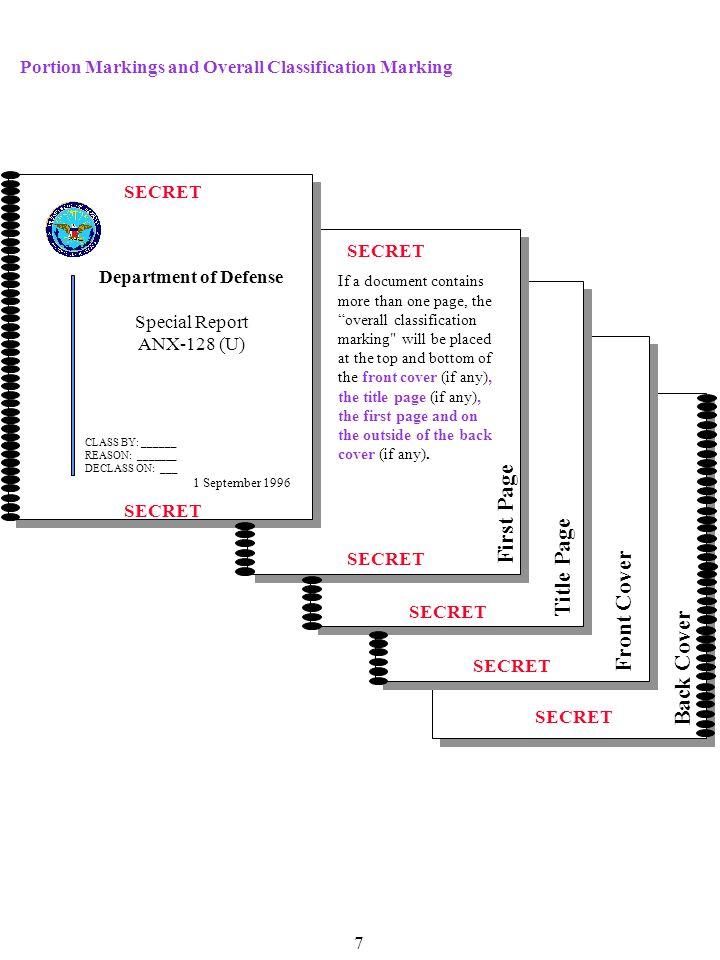 SECRET Back Cover SECRET Front Cover SECRET Title Page SECRET First Page SECRET Department of Defense Special Report ANX-128 (U) 1 September 1996 If a