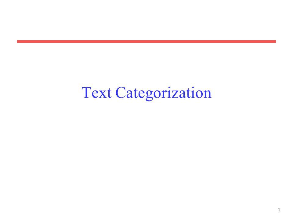 1 Text Categorization
