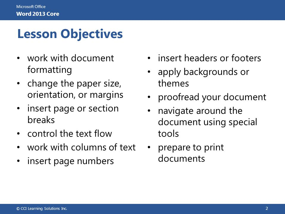 Microsoft Office Word 2013 Core Review Questions 1.Explain the purpose of setting margins for a document.