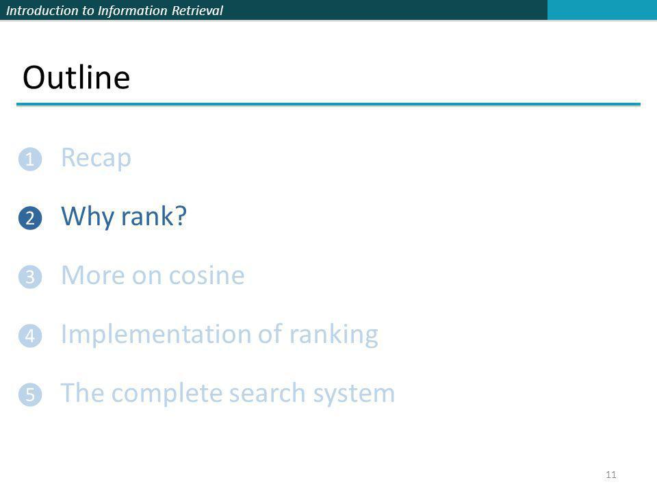 Introduction to Information Retrieval Outline ❶ Recap ❷ Why rank? ❸ More on cosine ❹ Implementation of ranking ❺ The complete search system 11