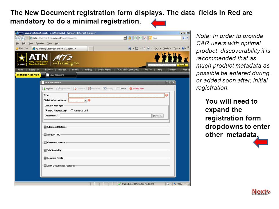 The New Document registration form displays.