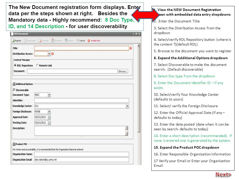 1. View the NEW Document Registration Screen with embedded data entry dropdowns 2.