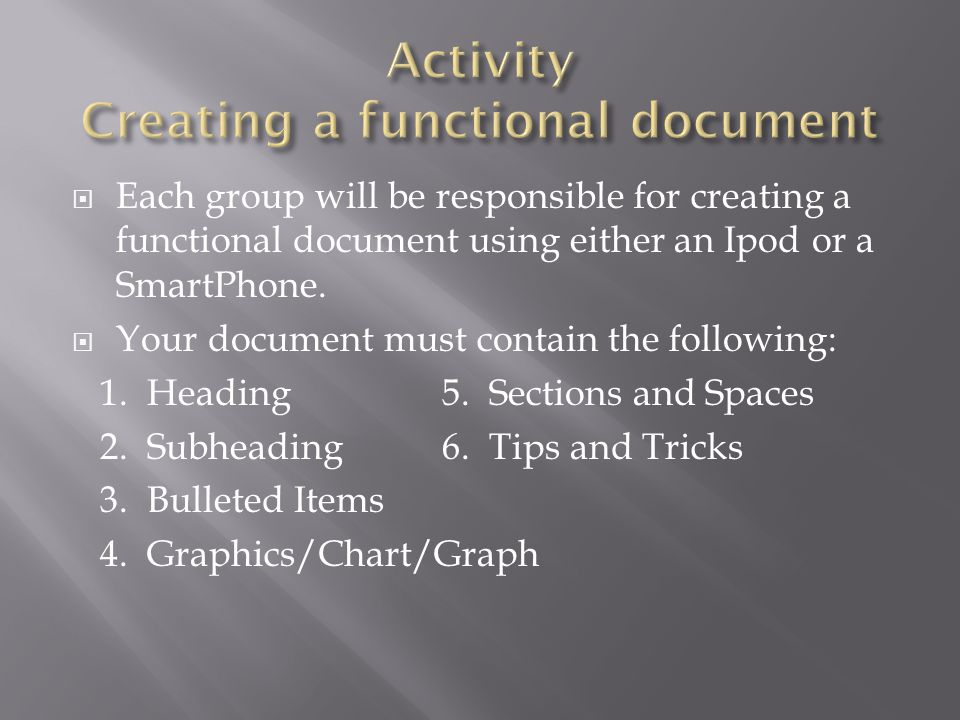  Each group will be responsible for creating a functional document using either an Ipod or a SmartPhone.