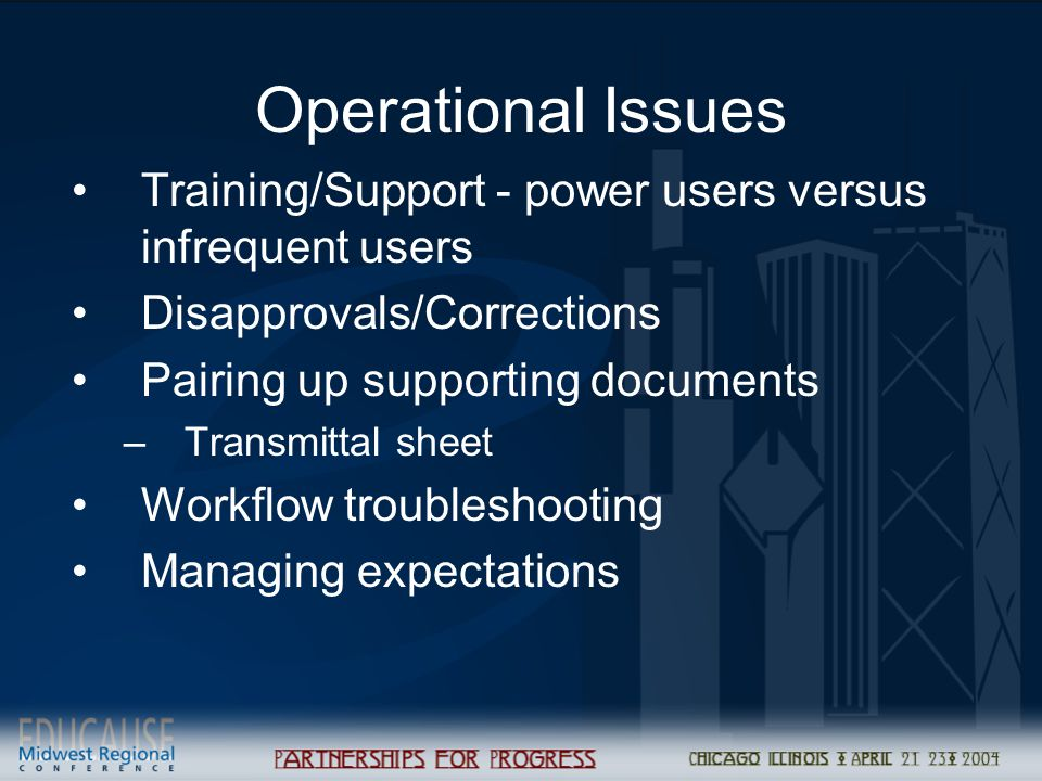 Operational Issues Training/Support - power users versus infrequent users Disapprovals/Corrections Pairing up supporting documents –Transmittal sheet Workflow troubleshooting Managing expectations