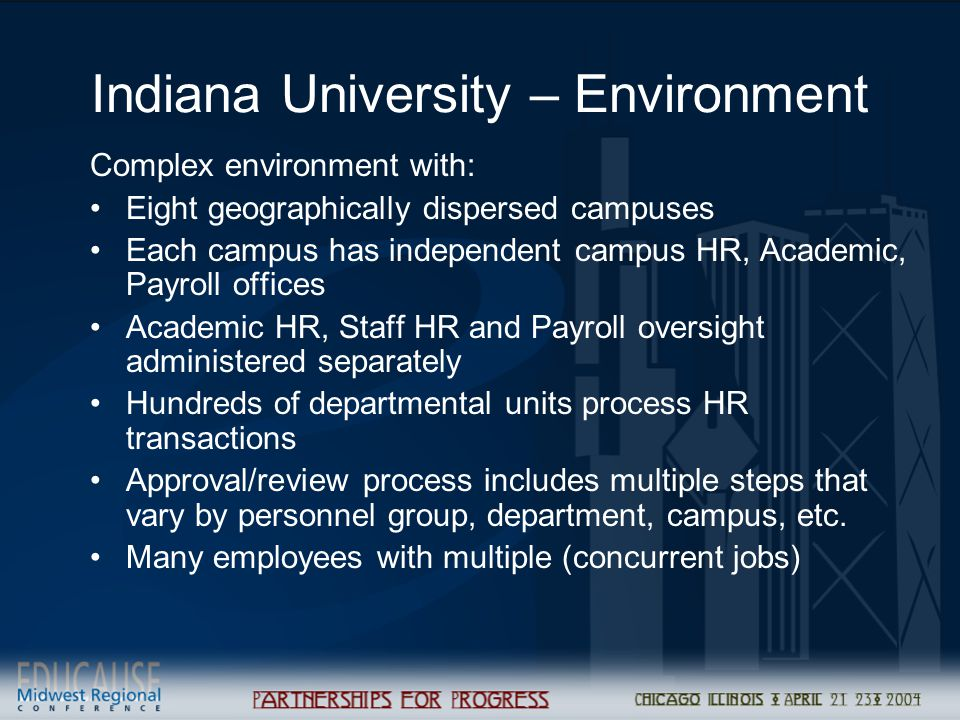 Indiana University – Environment Complex environment with: Eight geographically dispersed campuses Each campus has independent campus HR, Academic, Payroll offices Academic HR, Staff HR and Payroll oversight administered separately Hundreds of departmental units process HR transactions Approval/review process includes multiple steps that vary by personnel group, department, campus, etc.