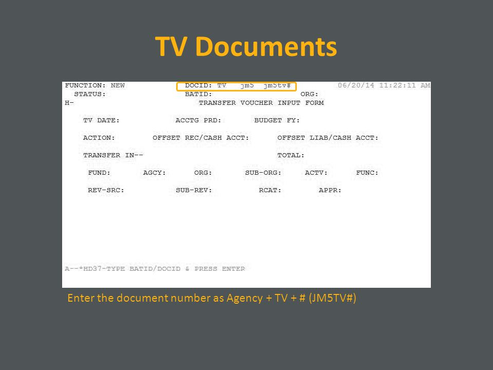 TV Documents Enter the document number as Agency + TV + # (JM5TV#)