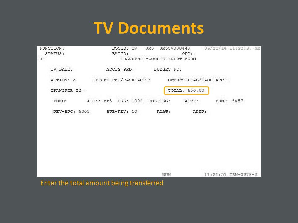 TV Documents Enter the total amount being transferred