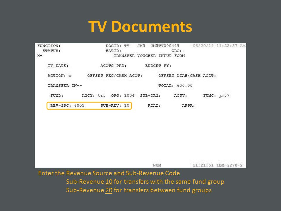TV Documents Enter the Revenue Source and Sub-Revenue Code Sub-Revenue 10 for transfers with the same fund group Sub-Revenue 20 for transfers between fund groups