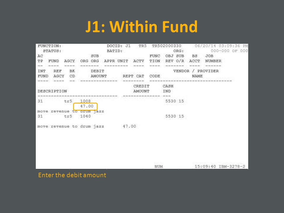 J1: Within Fund Enter the debit amount