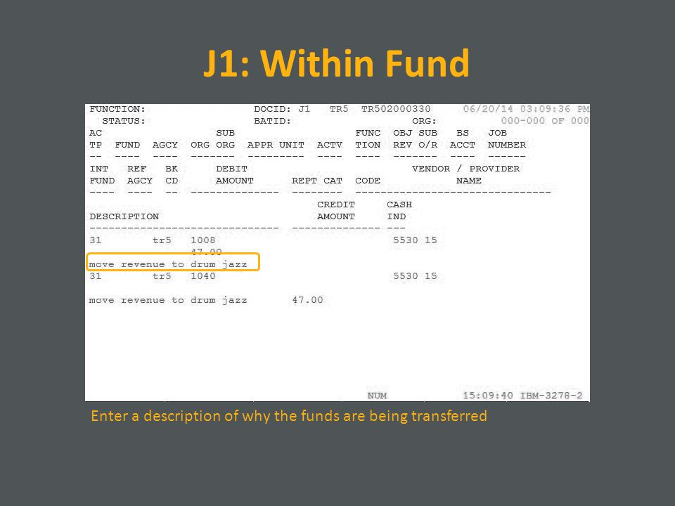 J1: Within Fund Enter a description of why the funds are being transferred