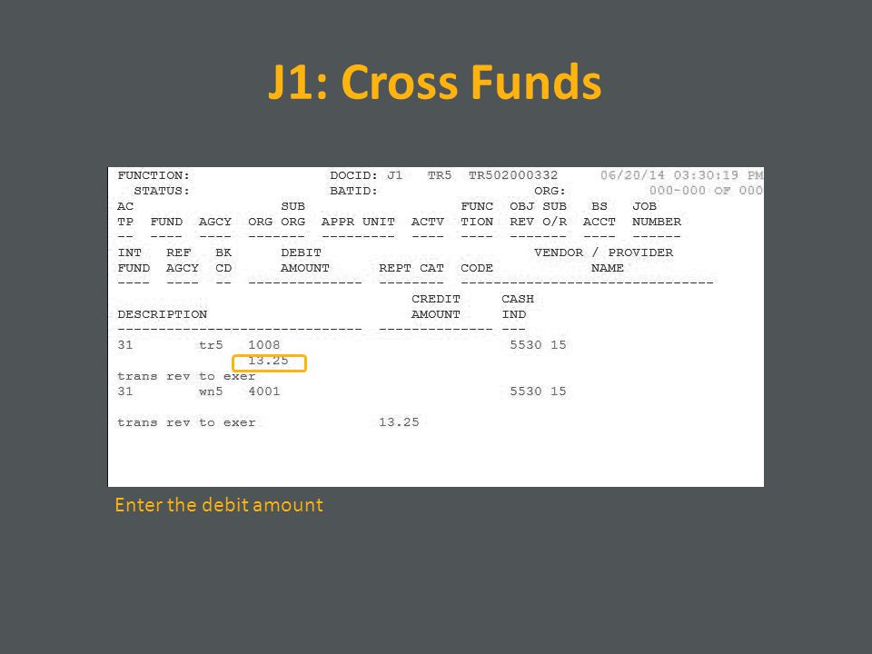 J1: Cross Funds Enter the debit amount