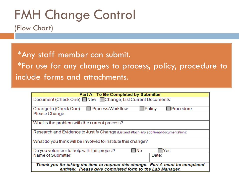FMH Change Control (Flow Chart) *Any staff member can submit. *For use for any changes to process, policy, procedure to include forms and attachments.