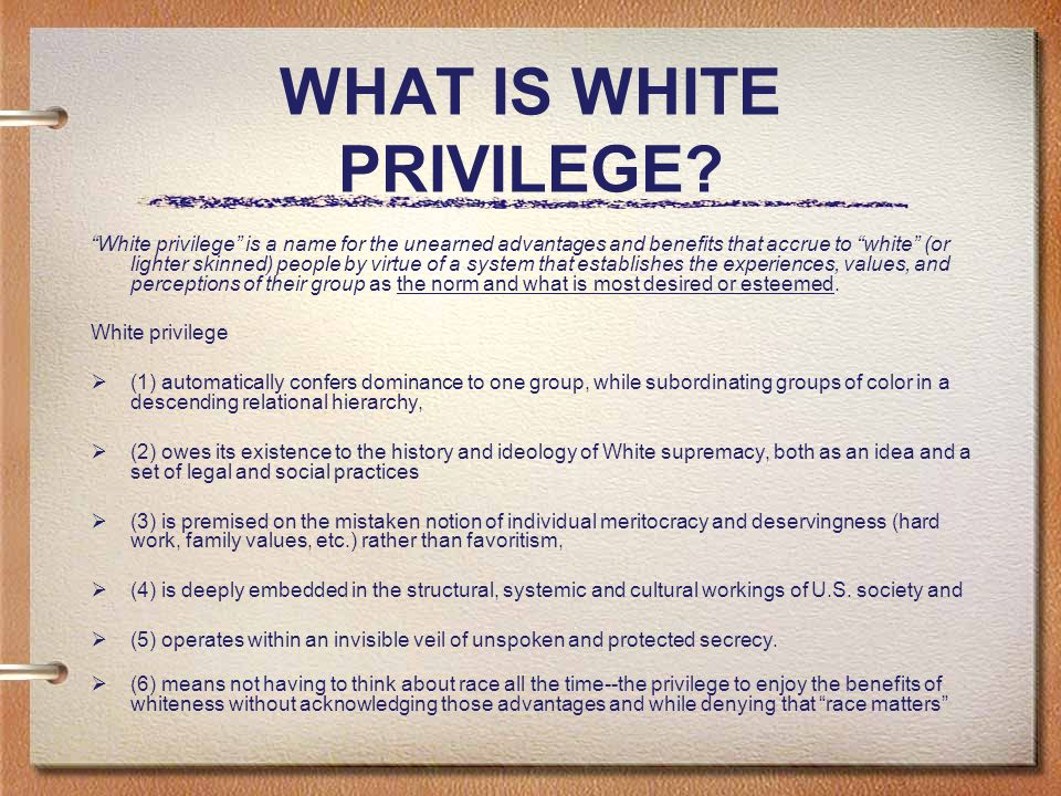 WHAT IS WHITE PRIVILEGE.