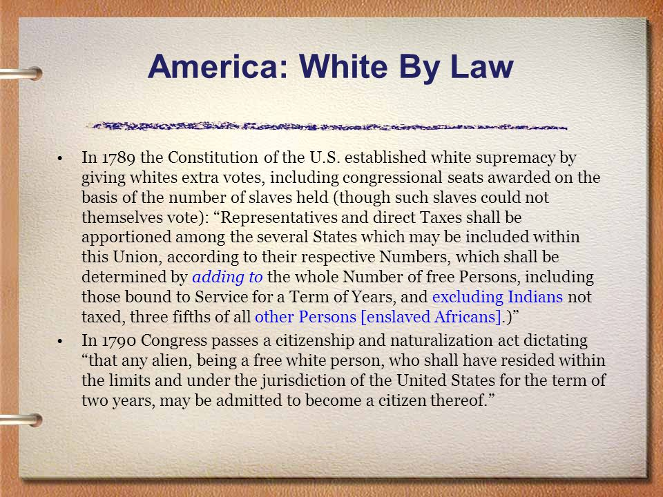America: White By Law In the Dred Scott decision of 1856, upholding the Fugitive Slave Law, the Supreme Court of the U.S.