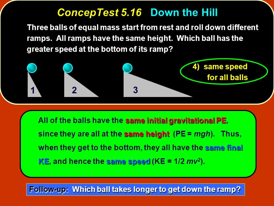 ConcepTest 5.16Down the Hill ConcepTest 5.16 Down the Hill same initial gravitational PE same height same final KEsame speed All of the balls have the