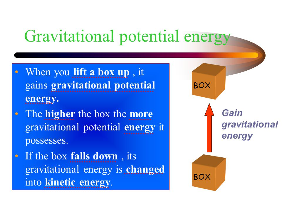Strain energy Another form of potential energy.