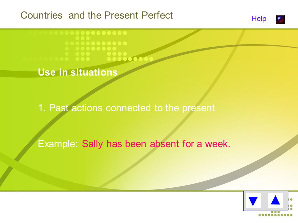 Countries and the Present Perfect Help Use in situations 1.Past actions connected to the present Example: Sally has been absent for a week.