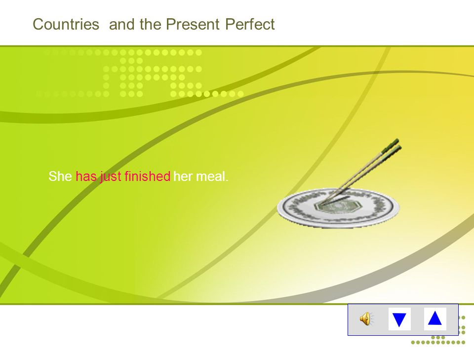 Countries and the Present Perfect She has just finished her meal.