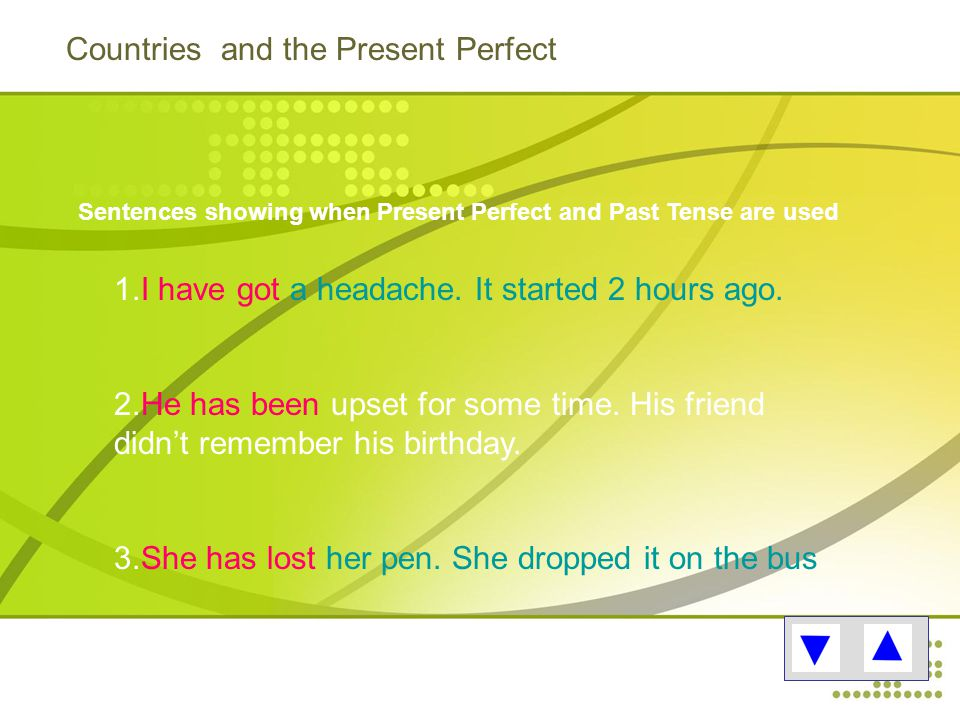 Countries and the Present Perfect Sentences showing when Present Perfect and Past Tense are used 1.I have got a headache.