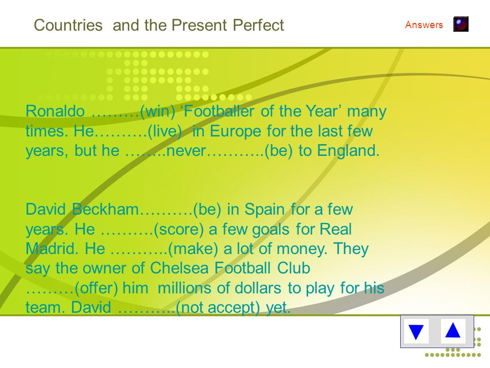 Countries and the Present Perfect Ronaldo ………(win) 'Footballer of the Year' many times.