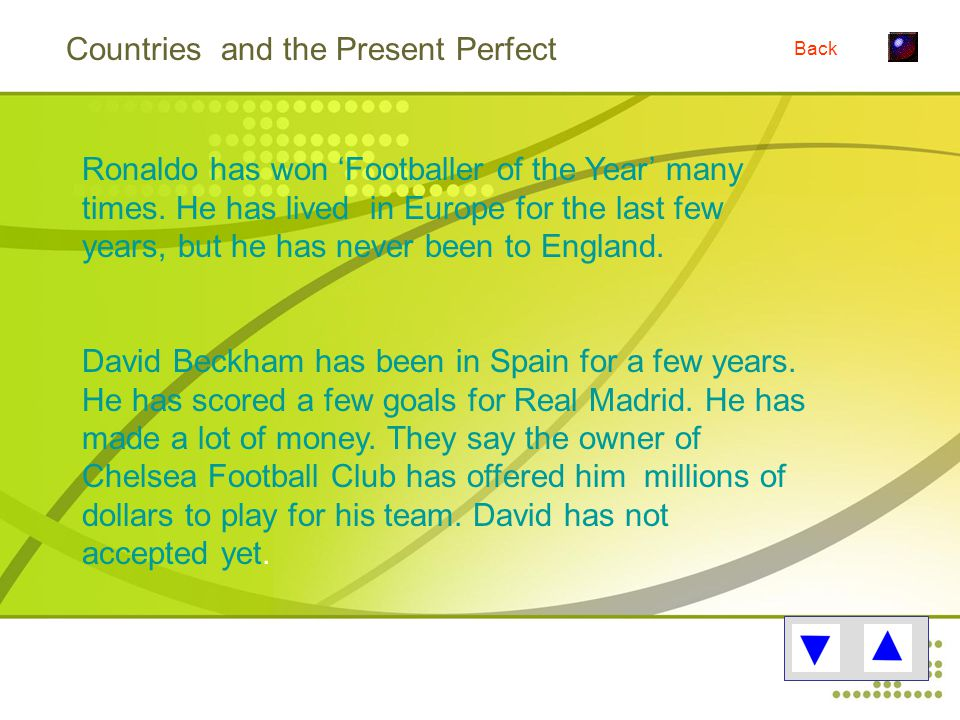 Countries and the Present Perfect Ronaldo has won 'Footballer of the Year' many times.