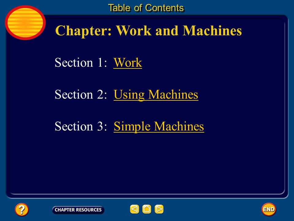 Chapter: Work and Machines Section 3: Simple MachinesSimple Machines Section 1: WorkWork Section 2: Using MachinesUsing Machines Table of Contents