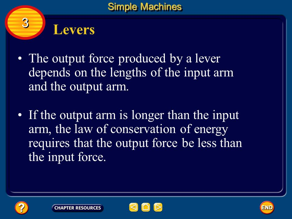 Levers The input arm of the lever is the distance from the fulcrum to the point where the input force is applied. The output arm is the distance from