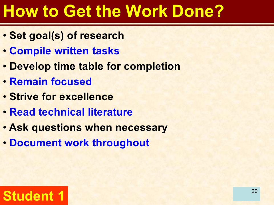 20 How to Get the Work Done.