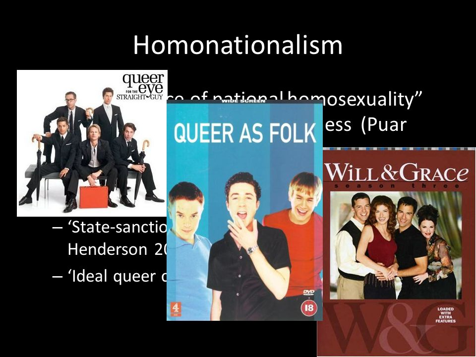Homonationalism the emergence of national homosexuality and global dominance of whiteness (Puar 2007) – One may be Muslim or gay, but never both (El- Tayeb 2012) – 'State-sanctioned' queer persona (Johnson and Henderson 2005) – 'Ideal queer citizen' (Agathangelou et al 2008)