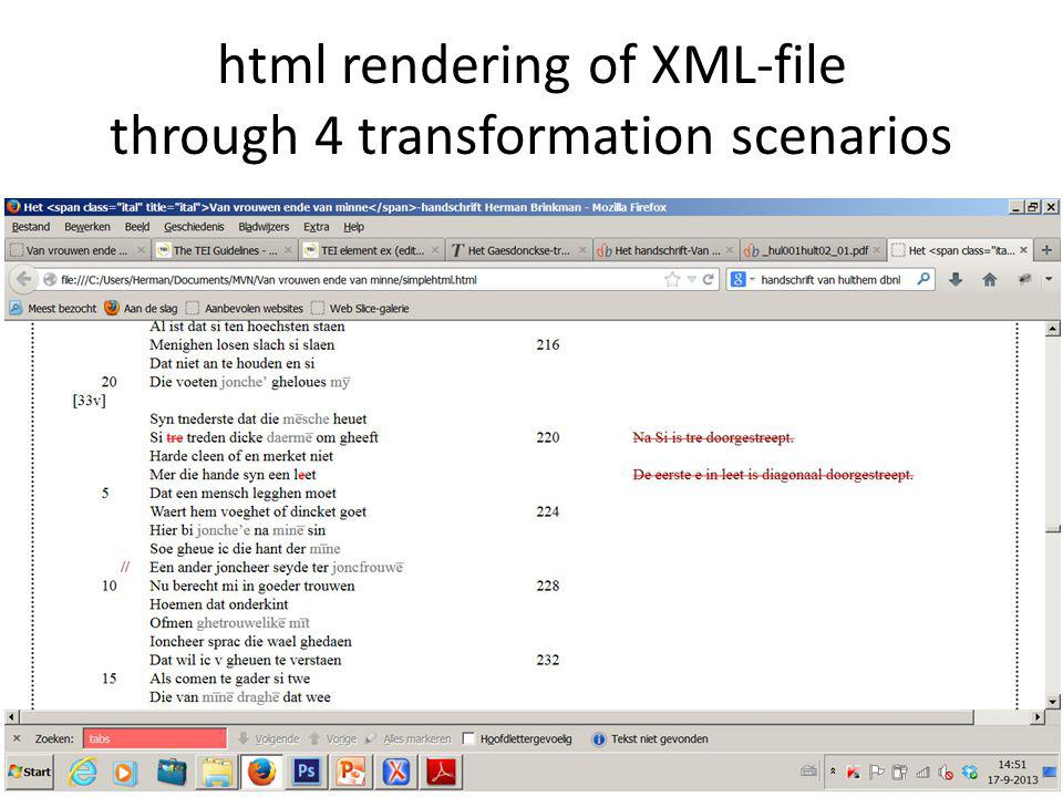html rendering of XML-file through 4 transformation scenarios
