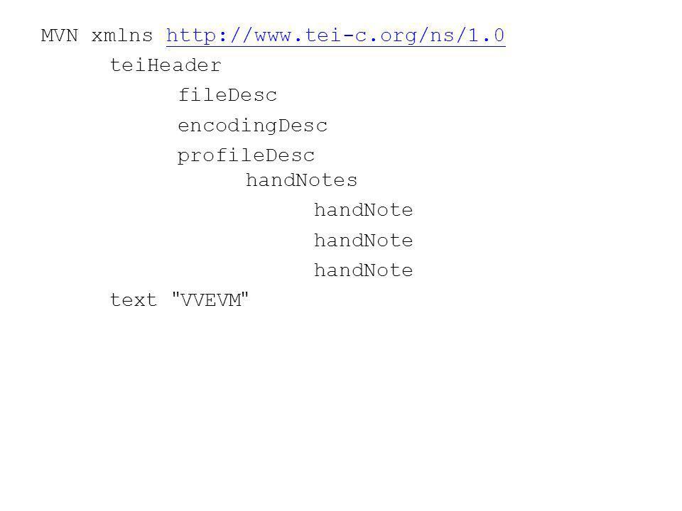 MVN xmlns http://www.tei-c.org/ns/1.0http://www.tei-c.org/ns/1.0 teiHeader fileDesc encodingDesc profileDesc handNotes handNote text VVEVM