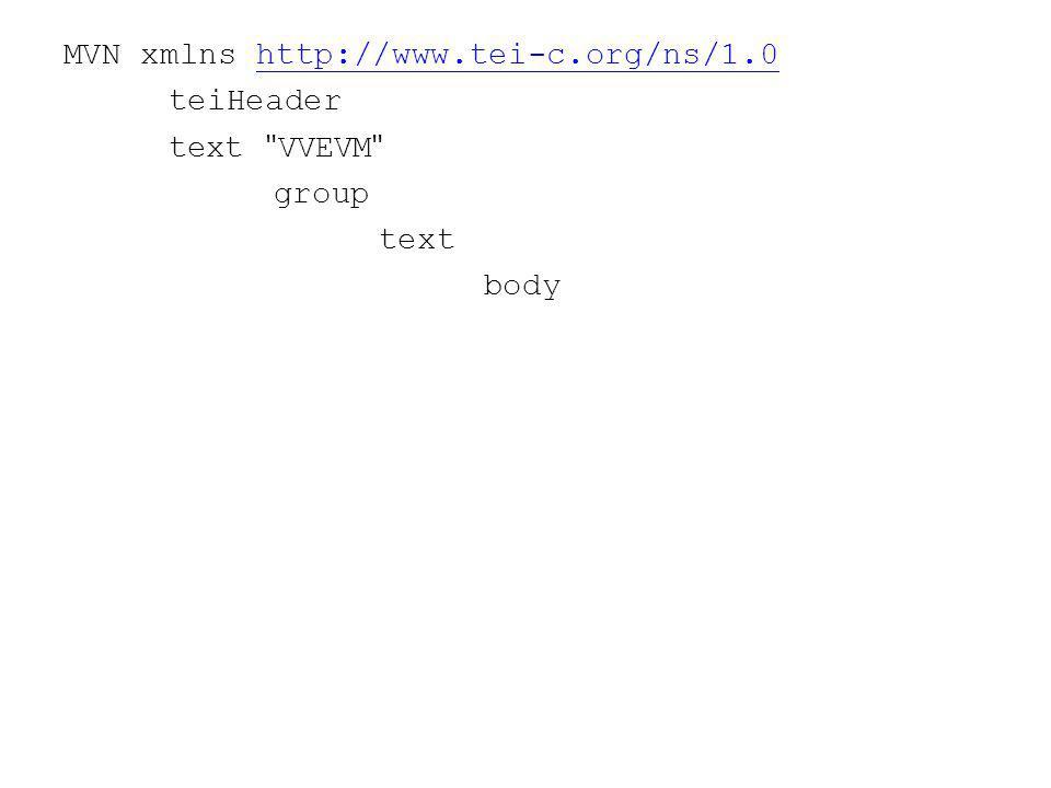 MVN xmlns http://www.tei-c.org/ns/1.0http://www.tei-c.org/ns/1.0 teiHeader text VVEVM group text body