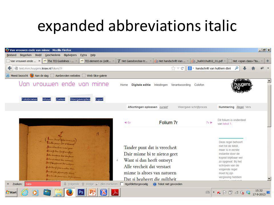 expanded abbreviations italic