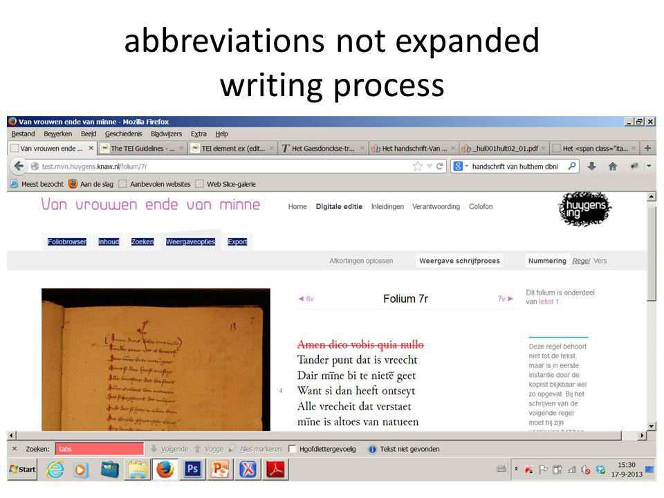 abbreviations not expanded writing process