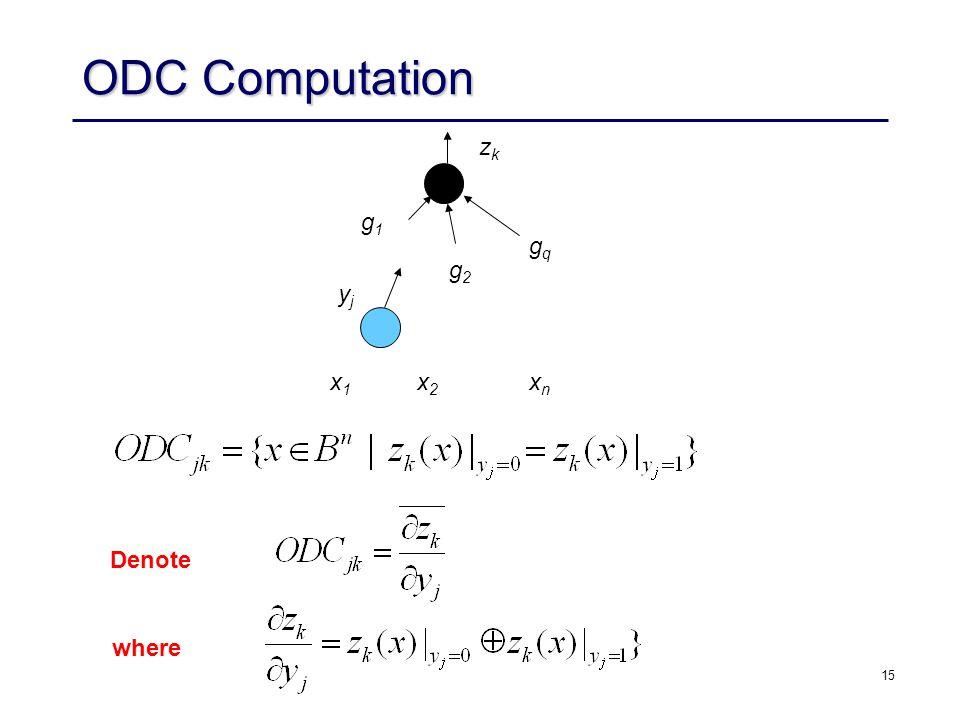 15 ODC Computation zkzk gqgq g2g2 g1g1 yjyj x1x1 x2x2 xnxn Denote where