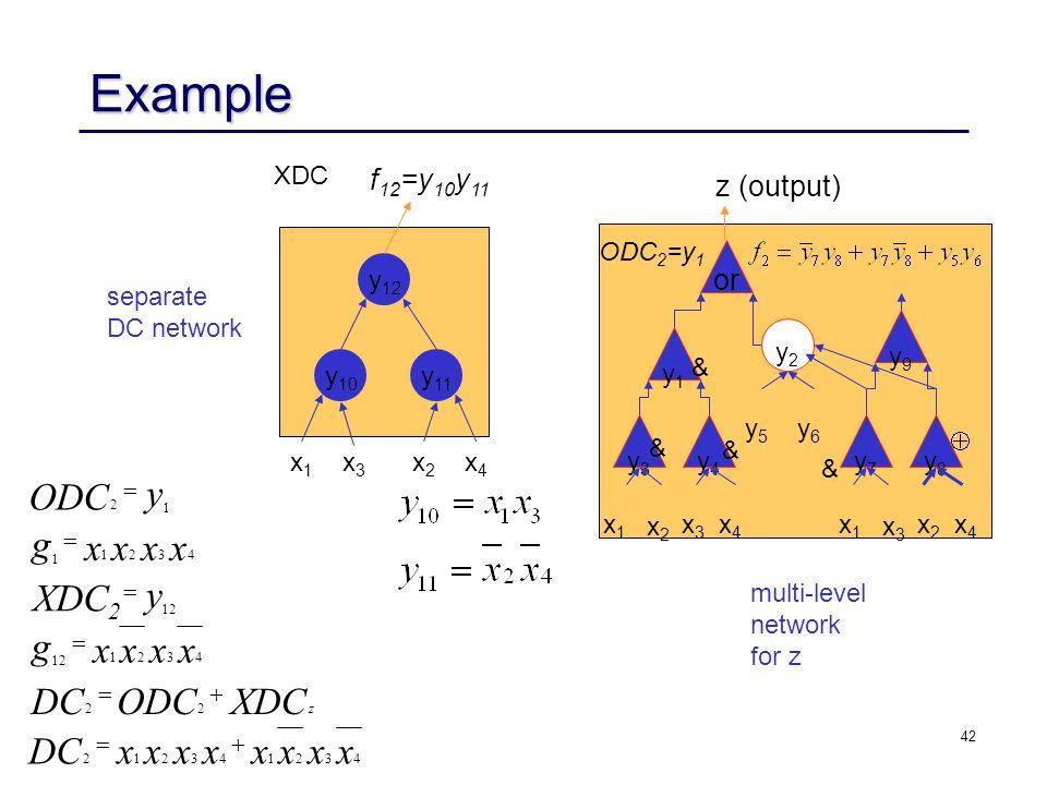 42 Example XDCODCDC xxxxxxxx xxxx g y XDC 2 xxxx g y ODC z       22 432143212 4321 12 4321 1 1 2 separate DC network multi-level network for z y 12 y 11 y 10 XDC x1x1 x4x4 x2x2 x3x3 f 12 =y 10 y 11 y9y9 y3y3 y1y1 y4y4 y8y8 y7y7 y2y2 or x4x4 y6y6 y5y5 z (output) x3x3 x2x2 x1x1 x4x4 x2x2 x3x3 x1x1 ODC 2 =y 1 & & & & 