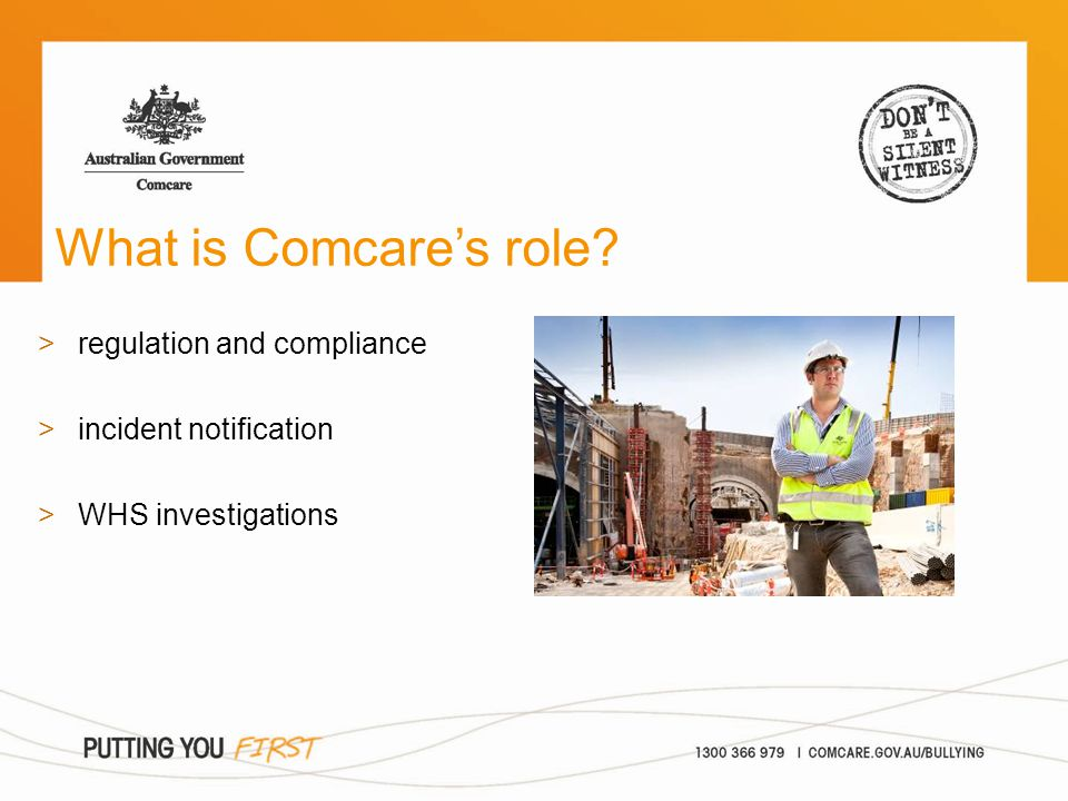 What is Comcare's role? >regulation and compliance >incident notification >WHS investigations