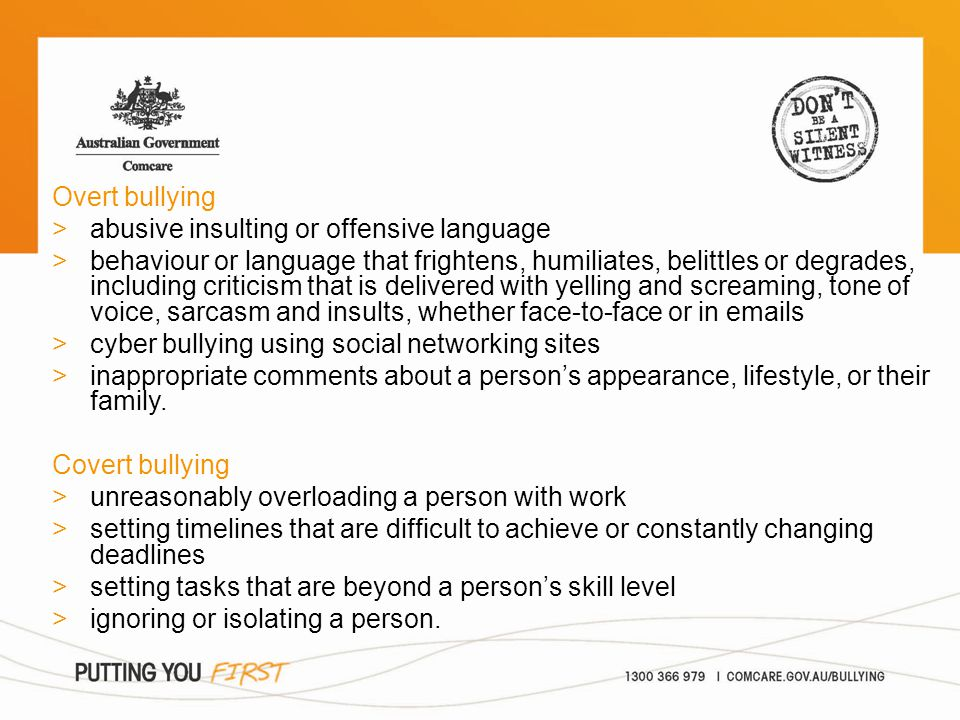 Overt bullying >abusive insulting or offensive language >behaviour or language that frightens, humiliates, belittles or degrades, including criticism