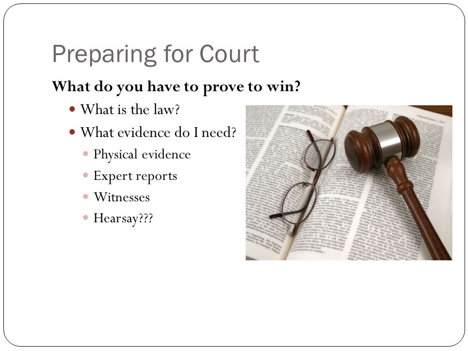 Preparing for Court What do you have to prove to win? What is the law? What evidence do I need? Physical evidence Expert reports Witnesses Hearsay???