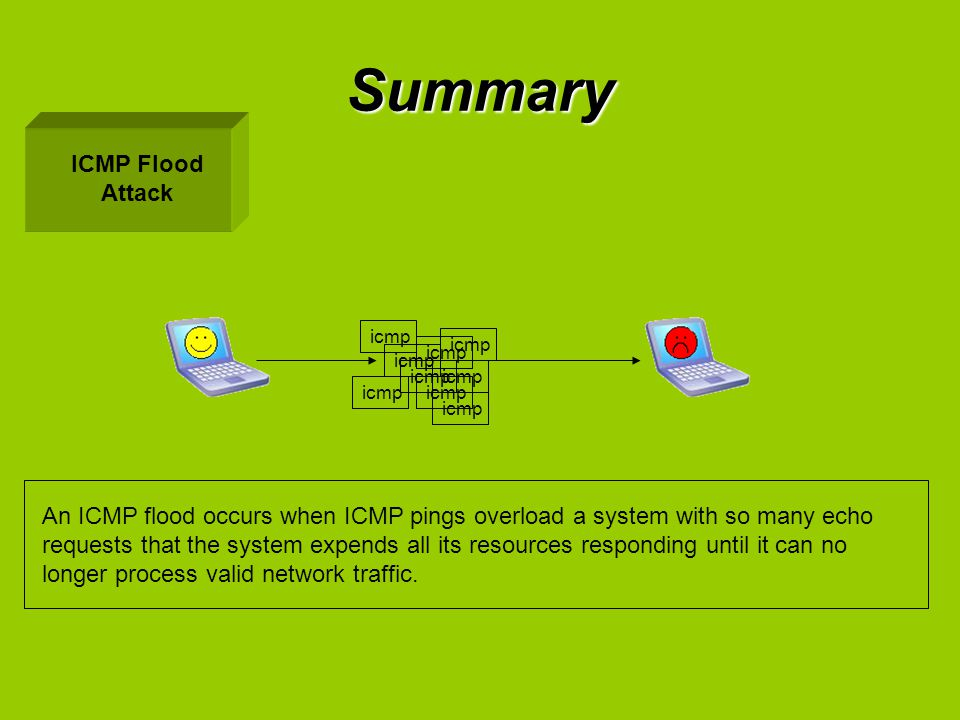 Summary ICMP Flood Attack An ICMP flood occurs when ICMP pings overload a system with so many echo requests that the system expends all its resources