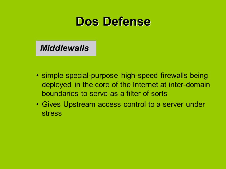 simple special-purpose high-speed firewalls being deployed in the core of the Internet at inter-domain boundaries to serve as a filter of sorts Gives