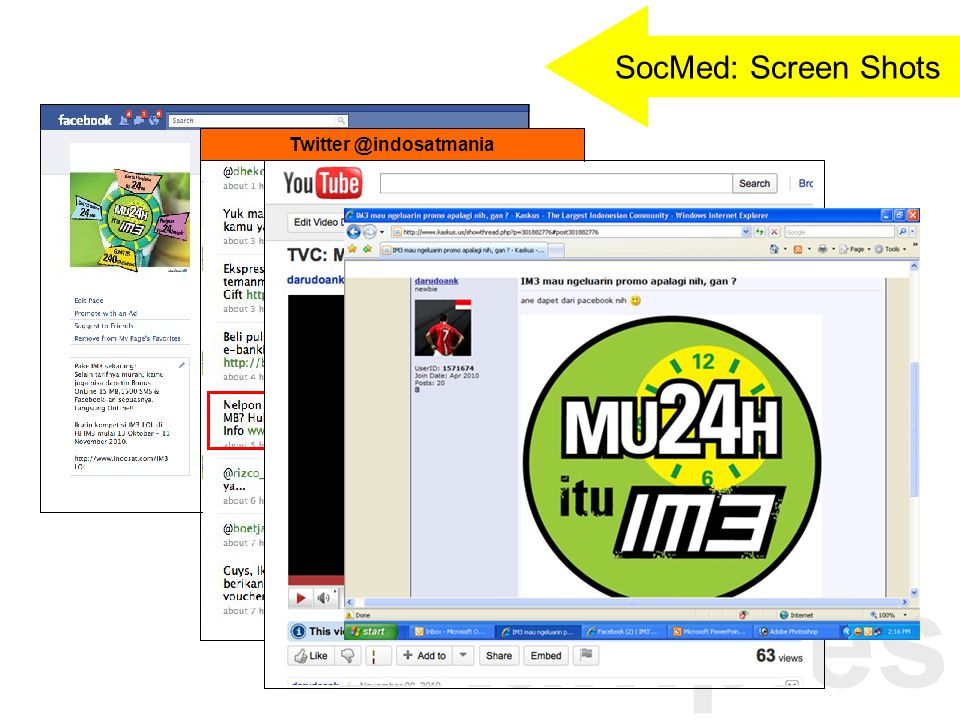Examples Twitter @indosatmania SocMed: Screen Shots