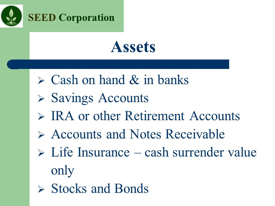 SEED Corporation Assets  Cash on hand & in banks  Savings Accounts  IRA or other Retirement Accounts  Accounts and Notes Receivable  Life Insuran