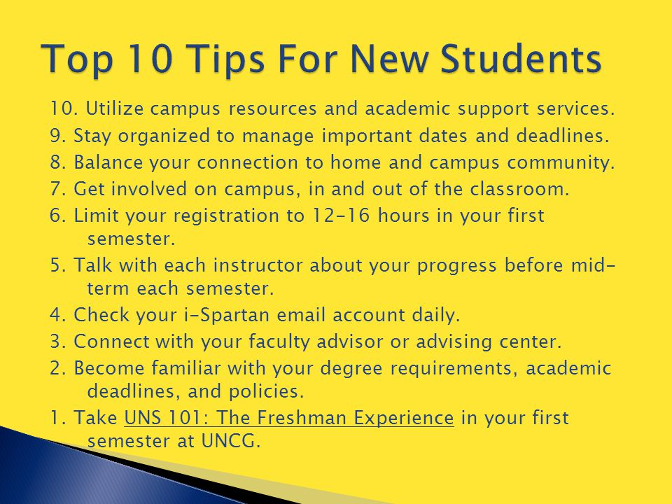 10. Utilize campus resources and academic support services.