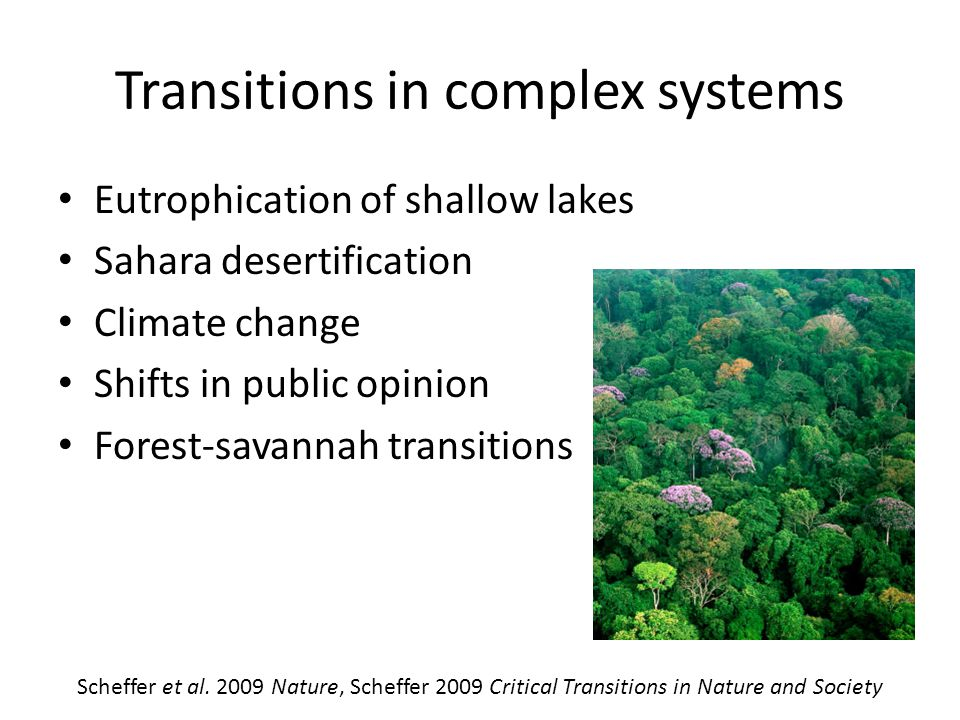 Transitions in complex systems Eutrophication of shallow lakes Sahara desertification Climate change Shifts in public opinion Forest-savannah transitions Scheffer et al.