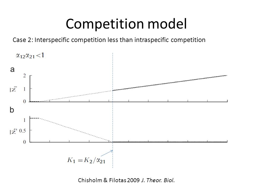 Competition model Case 2: Interspecific competition less than intraspecific competition Stable Unstable Stable Chisholm & Filotas 2009 J.