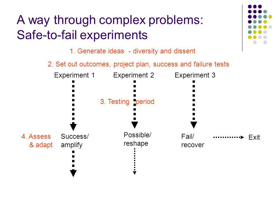 A way through complex problems: Safe-to-fail experiments Experiment 1Experiment 2Experiment 3 4.