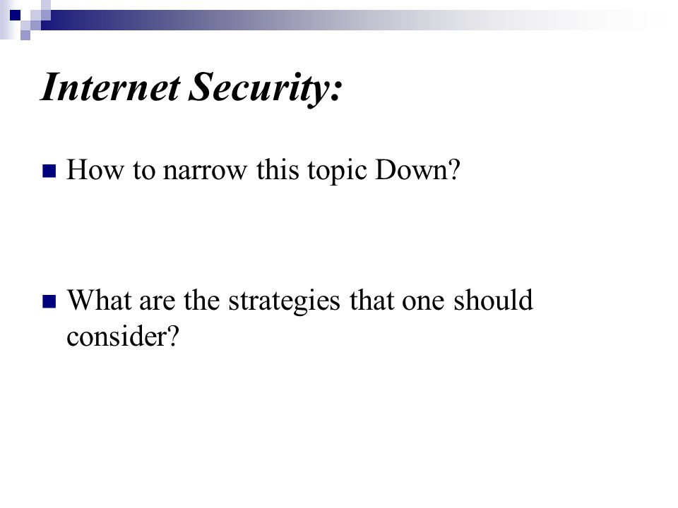 Internet Security: How to narrow this topic Down What are the strategies that one should consider