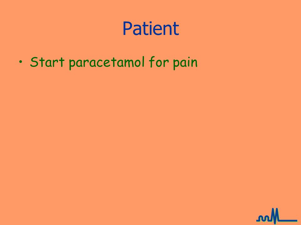 Patient Start paracetamol for pain